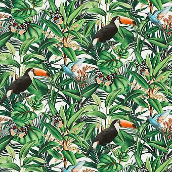 Paradisio 2 Jungle Fåglar Bakgrund Vit Erismann 10121-07