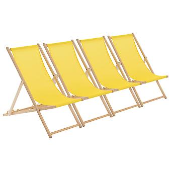 Traditional Adjustable Wooden Beach Garden Deck Chair - Yellow - Pack of 4