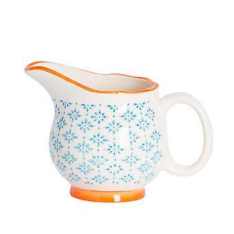 نيكولا الربيع اليد المطبوعة إبريق الحليب - نمط الخزف الياباني كريم مرق قارب - الأزرق - 300ml