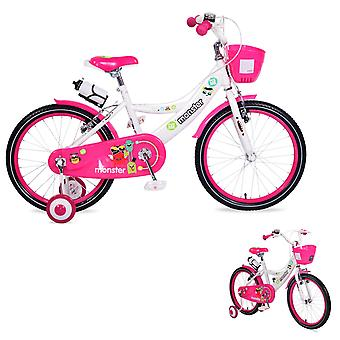 Byox Children's Bicycle 20 inch 2081 roze steunwielen voormanden drankhouder bel