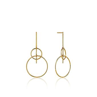 Ania Haie Sterling Silver Shiny Gold Plated Solid Drop Earrings E008-19G