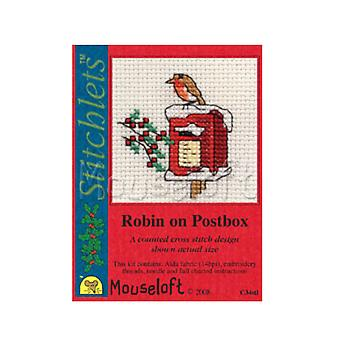 Robin on Postbox - Stitchlets Small Christmas Counted Cross Stitch Card Making Kit