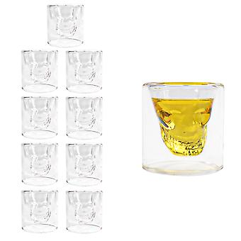 TRIXES Shot Glasses Whiskey Glasses -Skull Glasses 10PC Drinking Glasses