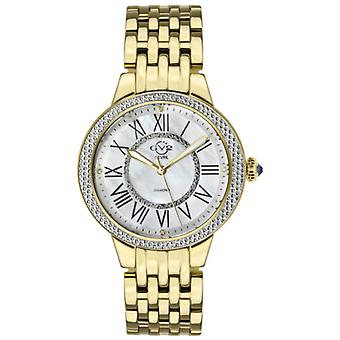 Gv2 Tekijä Gevril Women's 9142 Astor II Diamond MOP Dial Gold IP Steel Swiss Watch
