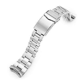 Strapcode watch armbånd 22mm super-o boyer 316l rustfritt stål watch band for seiko 5, børstet v-lås