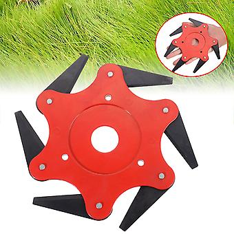 6 Blades Cutter Head Grass Trimmer Brush 65Mn Weed Brush Cutting Head Garden Power Tool Accessories for Lawn Mower