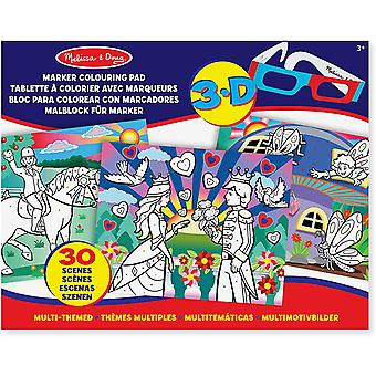 Melissa y Doug 3D Marker Coloring Pad - Multi-Themed