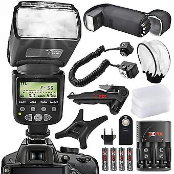 Xpix Hochleistungs-Autofokus digitaler Slr-Blitz für Nikon-Kamera mit Deluxe-Zubehör-Bundle