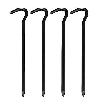 Black Tent Hook Type Aluminum Outdoors Ground Stakes Pegs Nail Pack of 4