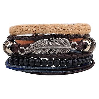 Vintage Multilayer Wood Beads Tissé Bracelet En cuir Leaf Pendentif Bracelet