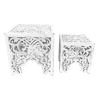Square Carved Indian Side End Table