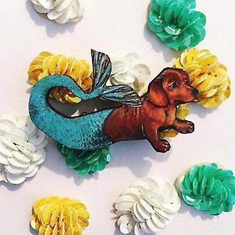 Dachshund Mermaid Wooden Pin