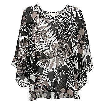 Belle by Kim Gravel Women's Top Printed Woven V-Neck Blouse Black A373653
