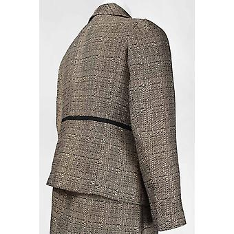Long Sleeve Piping Detail Buttoned Tweed Skirt Set