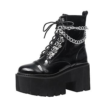 Patent Leather Gothic Black Boots, Sexy Chain Chunky Heel