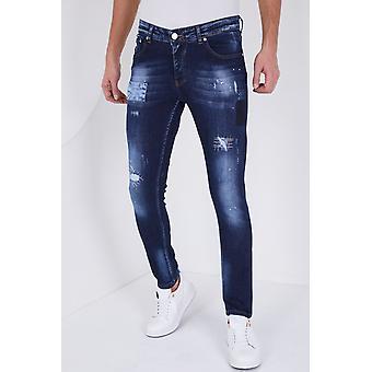Paint Drops Jeans - Slim Fit - 5201D - Blue