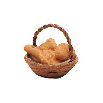 Casa de bonecas cesta redonda de pão fresco cozinha acessório