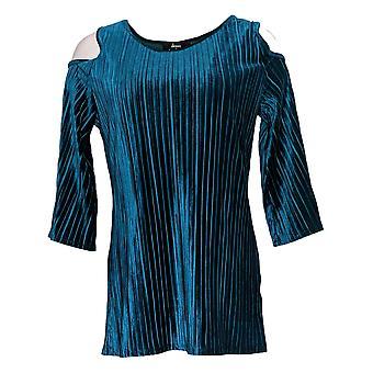 Dennis Basso Women's Top Pleated Stretch Velvet Cold Shoulder Blue A298247
