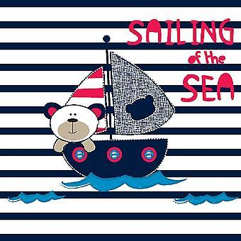 Bedrukt Tapijt Catch The Sea Veelkleurig in Polyester, Katoen, L100xP150 cm
