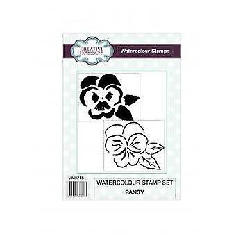Kreative uttrykk Pansy Akvarell 2 Pre Cut frimerker