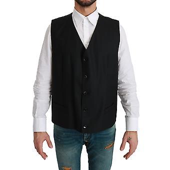 Black Dotted Waistcoat Formal Wool Vest