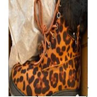 Leopard Print Kvinner Lace Opp Ankelstøvletter for Kvinner Størrelse 6 - Sennep