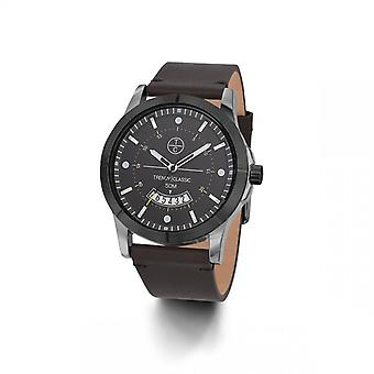 Reloj clásico de moda CB1037-21D - Avenger Dateur Bo tier Steel Grey Leather Bracelet Brown Grey Dial