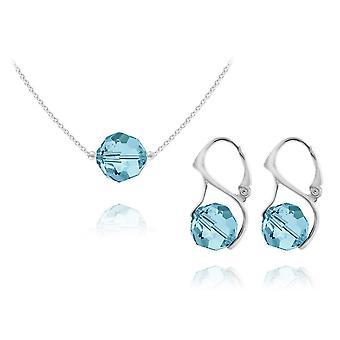 Zilveren hanger ketting sieraden set aquamarijn