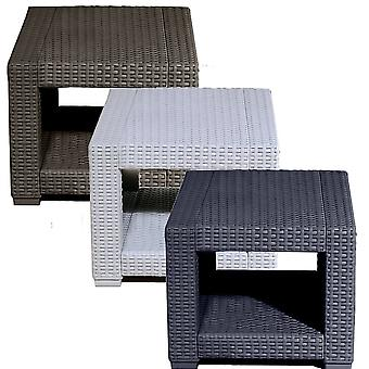 Square Rattan Effect Coffee Side Table - Outdoor Garden Patio Furniture
