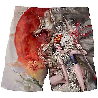 Wolf Spodenki Dla Dzieci Cartoon, Szorty Summer Beach Loose Casual Spodnie