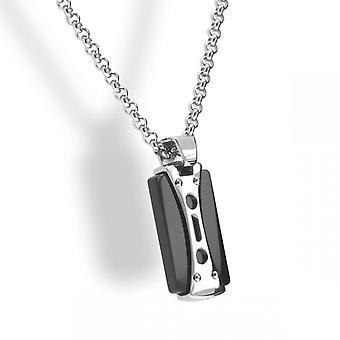 Collar and pendant Rochet P05231 - LAGOS Steel PVD Black Cha does 50cm Men