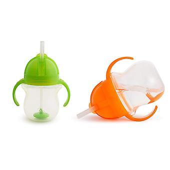 Munchkin Klikk Lås Tips & Sip Straw Cup 7oz - Oransje & Grønn