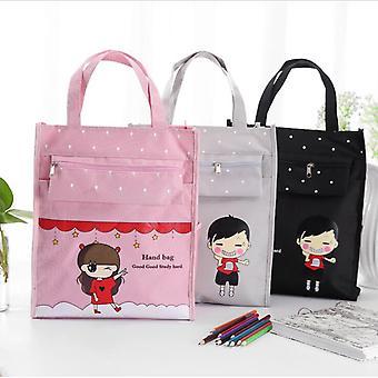 Cartoon Review Bag Student Cloth Art Portable Study Bag Student Tutorial Bag