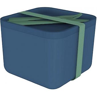 lunchbox with cutlery 16.6 x 12.7 cm bamboo blue 4-piece