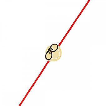 Smiley yellow vermeil cord bracelet and red cord 'apos;Intello'apos;