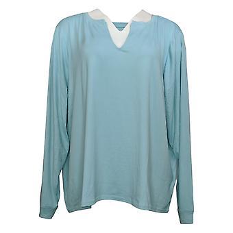Hvem som helst kvinner pluss børstet jersey langermet pyjamas blå A392379