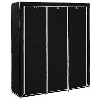 vidaXL wardrobe with compartments poles black 150x45x175cm fabric