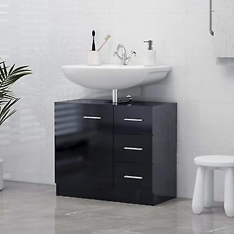 vidaXL Wash basin cabinet high gloss black 63x30x54 cm chipboard