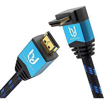 FengChun 4K HDMI Winkelkabel - 7,5 Meter Premium High Speed HDMI 2.0b Kabel mit 1x 90 Grad Winkel,