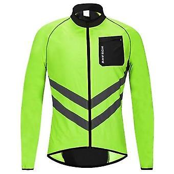 Men Cycling Jacket Windproof Reflective Long Sleeve Biking Jersey Bike Jacket for Riding Running Jogging