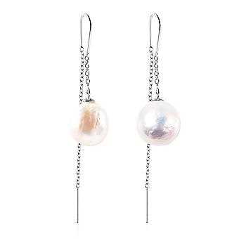 TJC White Pearl Drop Earrings Sterling Silver 33.34ct