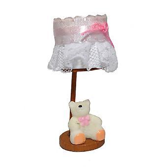 دمى البيت تيدي الدب السرير مصباح الوردي مصغرة الحضانة التبعي غير العامل