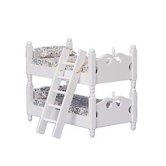 Dolls House Białe drewniane łóżka piętrowe Miniaturowe meble 1:12 Sypialnia