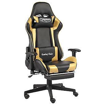 vidaXL gaming stoel met voetsteun draaibaar gouden PVC