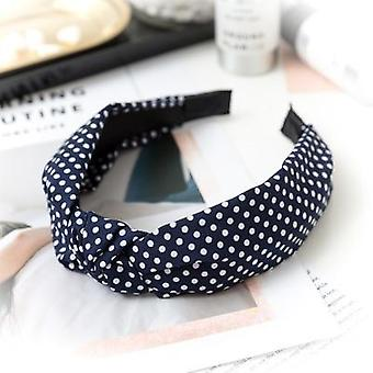 Women Solid Color Dot Knot Elastic Simple Wild Bow Headband
