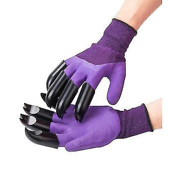 紫色の掘削手袋庭植え草保護手袋dt5186