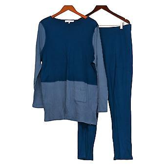 Carole Hochman Set Extra Interlock Block Tunic & Slim Pant Set Blue A310273