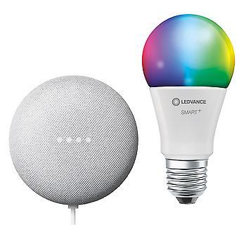 Google Nest Mini & Ledvance LV542785 Smart+ Bluetooth E27 Rgbw Bulb Bundle UK Plug