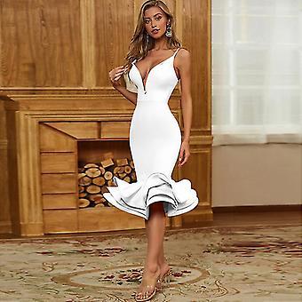 S bílý letní sexy popruh hluboké v večerní šaty pro ženy party 2021 urbano vintage šaty fa0885