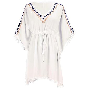 Polyester Bikini Cover Up V Neck Embroidery Beachwear Blouse